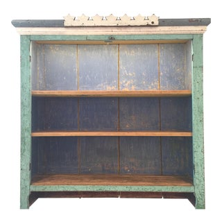 Vintage Aquamarine Washed Wall Shelf