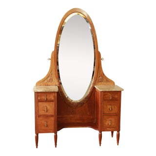 French Art Deco Marble Top Vanity & Mirror