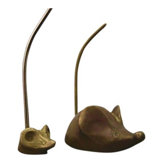 Vintage Brass Mice Mouse Ring Holder Trinkets - a Pair