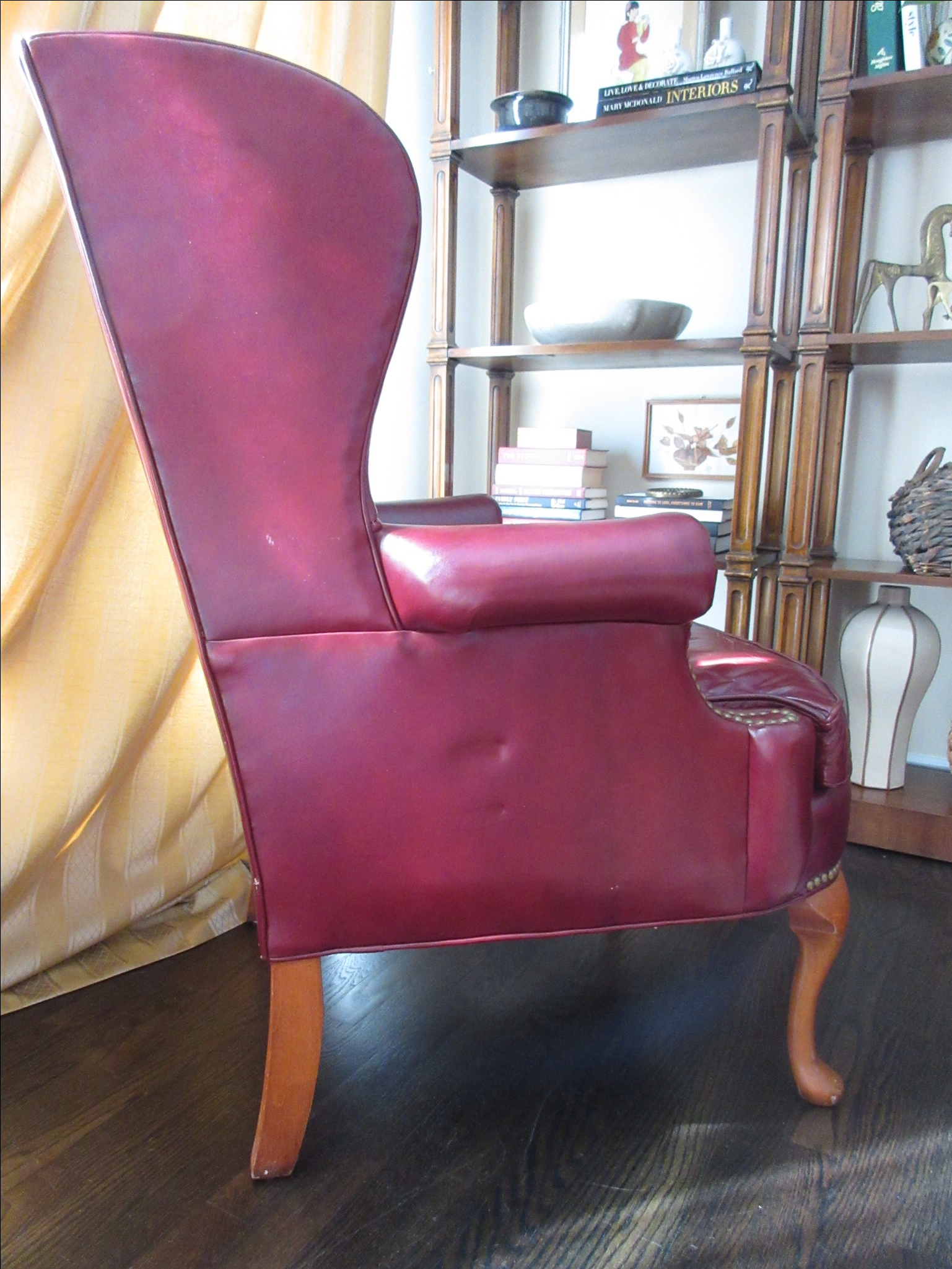 Hickory Furniture Red Leather Wing Chair   Image 3 Of 11