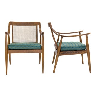 Mid Century Modern Caned Back Easy Chairs, A Pair