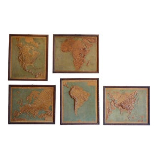 1910s Framed World Relief Maps From a Schoolhouse in France - Set of Five