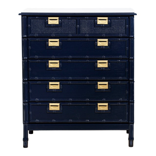 Image of Navy Faux-Bamboo Dresser