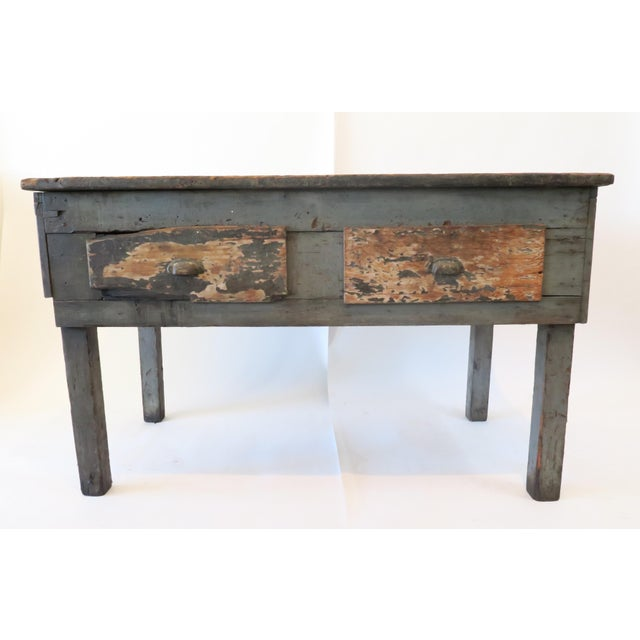 Rustic Wood Work Table - Image 2 of 8