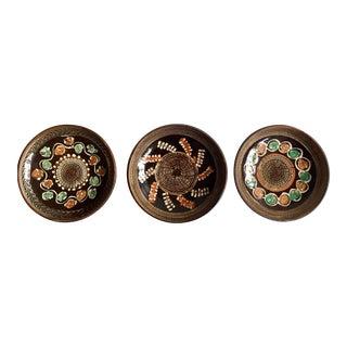 Earthtone Patterned Ceramic Plates - Set of 3