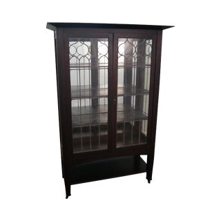 Limbert Mission Oak Leaded Glass China Cabinet
