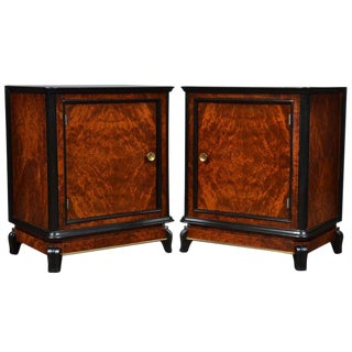 Austrian Art Deco Burled Walnut Side Tables - a Pair