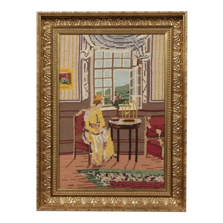 C.1920 Watching The Birds Framed Embroidery