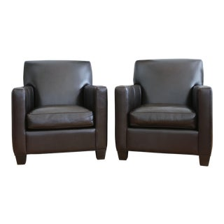 Crate and Barrel Leather Club Chairs - A Pair