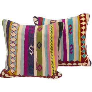 Colorful Turkish Kilim Cushions - A Pair