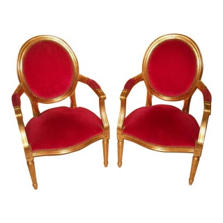 Louis XIV Style Gold Leaf Accent Chairs - a Pair
