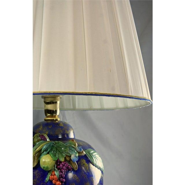 Italian Majolica Hand-Painted Blue Table Lamp - Image 5 of 8