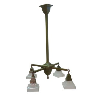 Mid-Century Brass Chandelier with Glass Shades