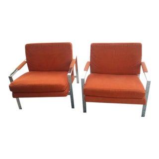 Carsons Vintage Chrome Orange Cube Arm Lounge Chairs - a Pair