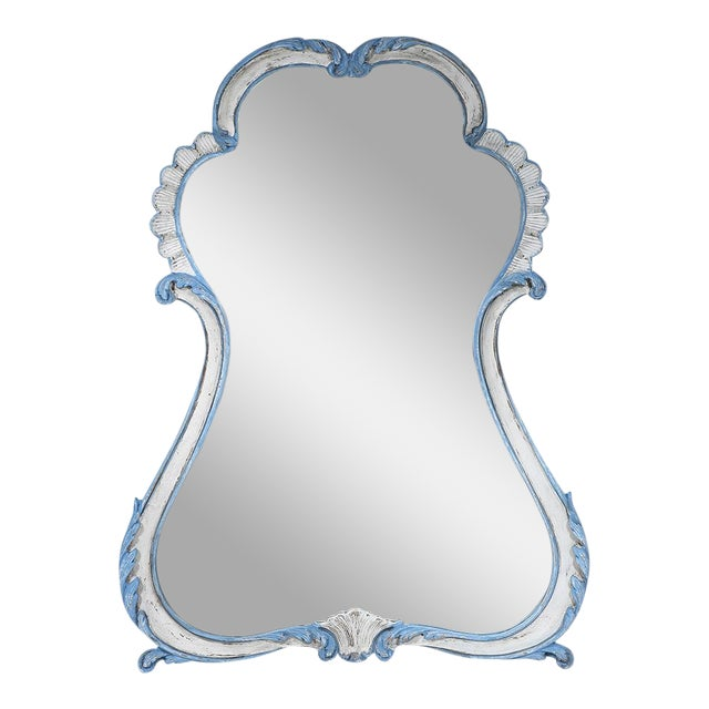 La Barge French-Style Blue & White Mirror - Image 1 of 9