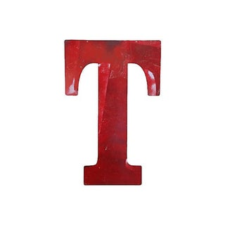 Large Red Metal Marquee Letter T