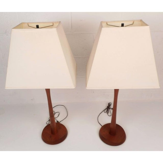 Image of Mid-Century Modern Teak Table Lamps - A Pair