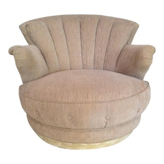 Art Deco Mid-Century Swivel Clam Shell Back Club Chair