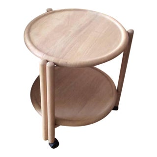 Wooden Lazy Susan Serving Cart Table
