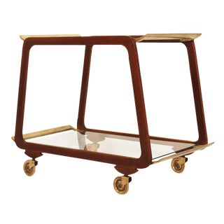 Austrian Mid Century Walnut & Brass Serving Trolley