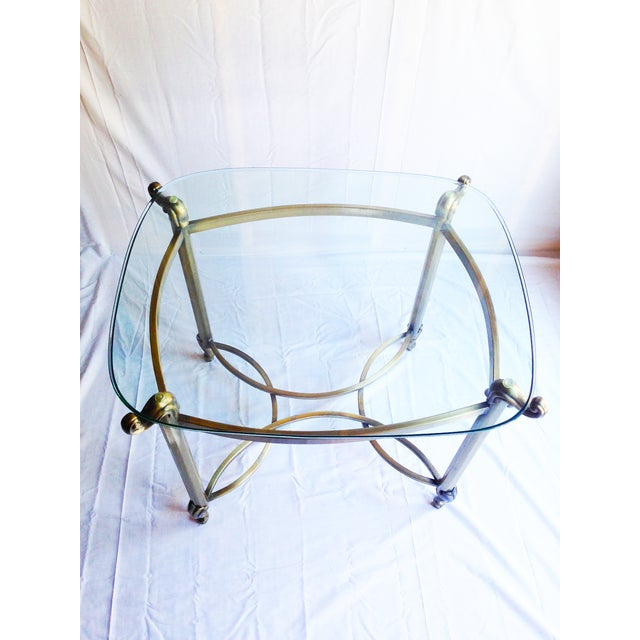 Brass Beveled Glass Side Tables- A Pair - Image 3 of 4