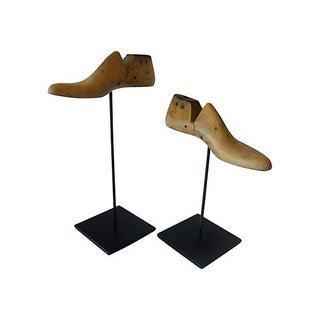 Vintage Wood Shoe Molds - A Pair