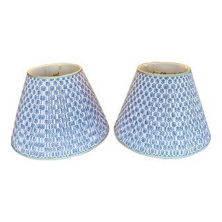Custom Indian Block and Silk Trimmed Lamp Shades - a Pair