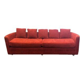 Custom Mid-Century Sofa in Rust Colored Chenille