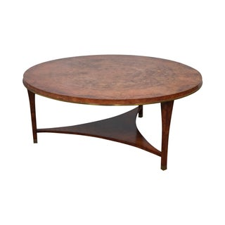 Round Burl Wood & Brass Edge Coffee Table
