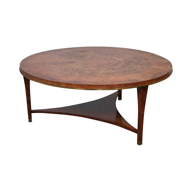Round Burl Wood Brass Edge Coffee Table Chairish