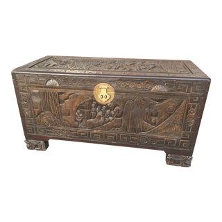 Carved Chinese Trunk With Tray