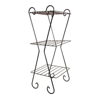 Mid Century Modern Black Metal Wire Plant Stand