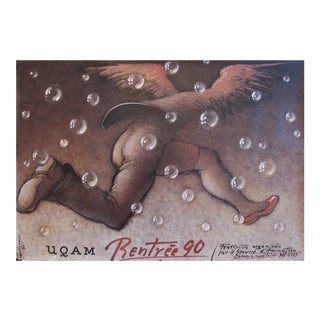 1990 UQAM Rentrée 90 Poster, Running With Wings by Mieczyslaw Gorowski