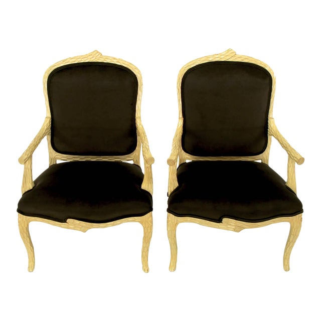 Pair of Faux Bois and Velvet Louis XV Style Fauteuils - Image 1 of 10