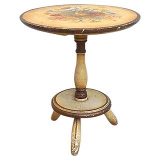 Vintage Italian Hand-Painted Floral Footstool