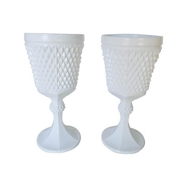 Vintage Milk Glass Urns - A Pair - Image 1 of 6
