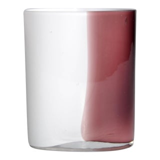 Hand-Blown White & Burgundy Murano Vase