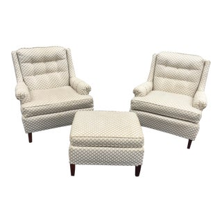 Vintage Hollywood Regency Chairs & Ottoman - Set of 3