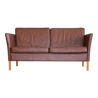 Mid Century Modern Danish 2 1/2 seat sofa in Brown Leather by Vemb Polstermobelfabrik