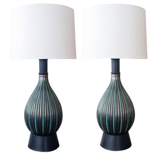 Pair of Danish Charcoal-Grey & Green Glazed Lamps by Michael Andersen & Sons