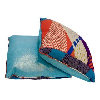 "Japanese Label Etsuko ""Tokyo Turquoise"" Linen Pillows - a Pair"