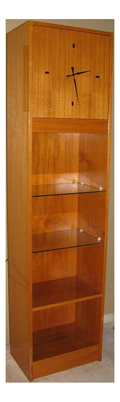 danish modern grandfather clock shelf