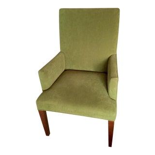 Crate & Barrel Green Linen Highback Arm Chair