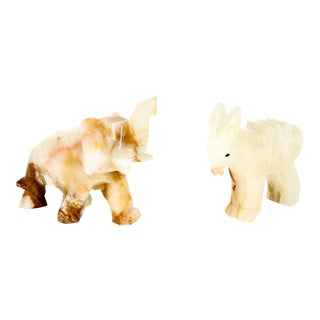 Carved Agate Donkey & Elephant Figurines - A Pair