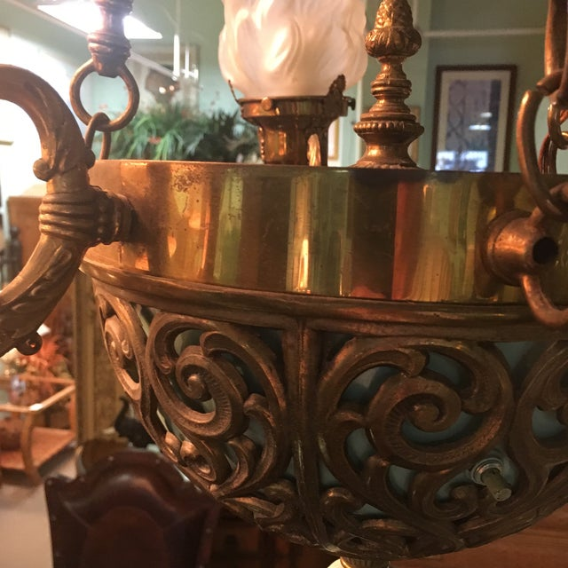 Antique Bronze French Art Deco Chandelier With Lalique Style Globes - Image 10 of 10
