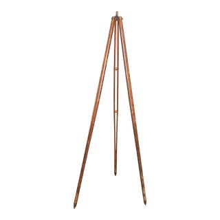 Vintage Industrial Carved Wood Surveying Tripod
