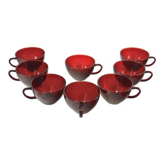 Vintage Ruby Red Glass Cups - Set of 8
