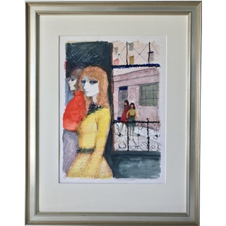 Parisian Women Charles Levier Watercolor Painting