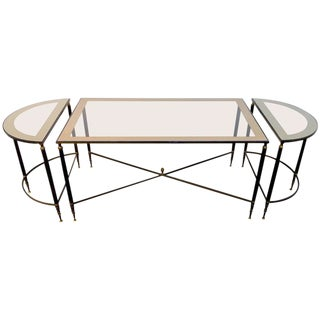 Three-Piece Hollywood Regency Bronze Cocktail Table Set by Maison Jansen