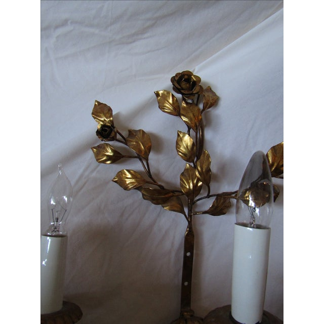 Vintage Gold Wall Lights : Antique Gold Floral 3-Light Wall Sconce Chairish